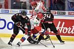 Mistrovství světa hokejistů do 20 let, finále: Rusko - Kanada, 5. ledna 2020 v Ostravě. Na snímku (zleva) Jared McIsaac, Ivan Morozov, Pavel Dorofeyev a Ty Smith.