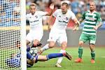 Utkání 5. kola první fotbalové ligy: FC Baník Ostrava - Bohemians 1905 , 10. srpna 2019 v Ostravě. Na snímku gól na 2:1 (zleva) brankář Bohemians Roman Valeš a Martin Šindelář.