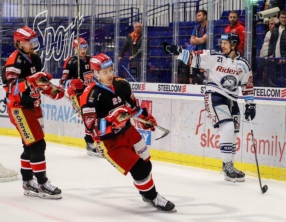 Utkání 39. kola hokejové extraligy: HC Vítkovice Ridera - Mountfield Hradec Králové, 24. ledna 2020 v Ostravě. Na snímku (vpravo) Alexandre Mallet.