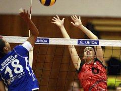 POKUS O BLOK ostravské volejbalistky Hany Čuboňové během včerejšího pohárového utkání s Finkami.