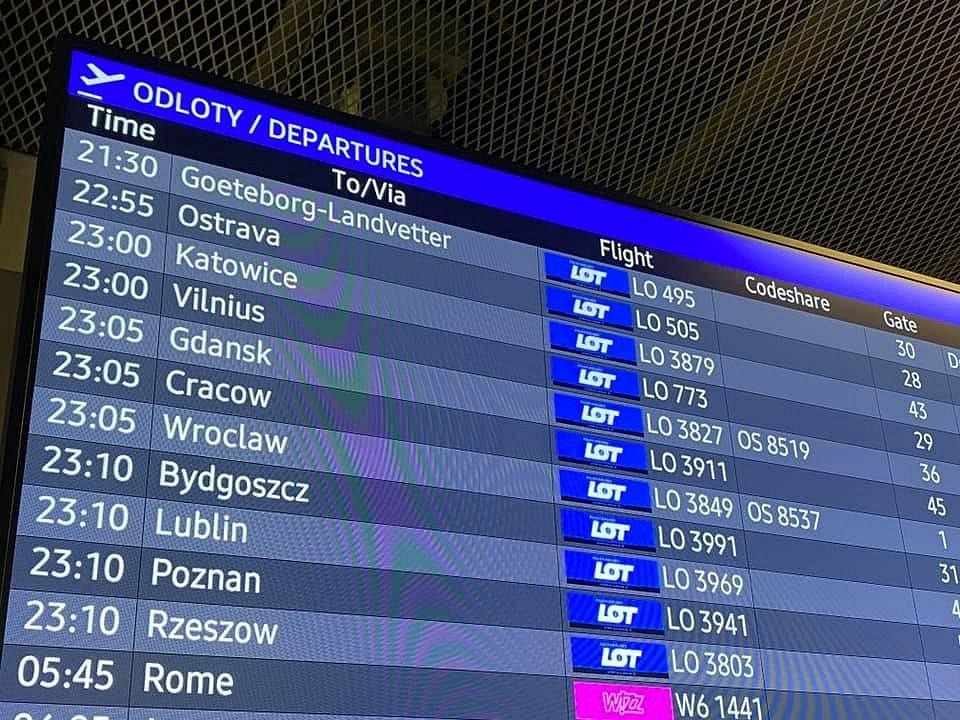 Před odletem z Varšavy do Ostravy, 25. říjen 2020