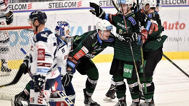 Utkání 51. kola hokejové extraligy: HC Vítkovice Ridera - HC Energie Karlovy Vary, 3. března 2020 v Ostravě. Střed radost David Tureček z Karlových Varů.