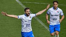 Utkání 26. kolo první fotbalové ligy: FC Baník Ostrava – SFC Opava, 10. dubna 2021 v Ostravě. Na snímku radující se Tomáš Zajíc, autor dvou gólů.