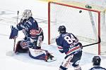 Čtvrtfinále play off hokejové extraligy - 1. zápas: HC Oceláři Třinec - HC Vítkovice Ridera, 20. března 2019 v Třinci. Na snímku (zleva) brankář Vítkovic Patrik Bartošák.