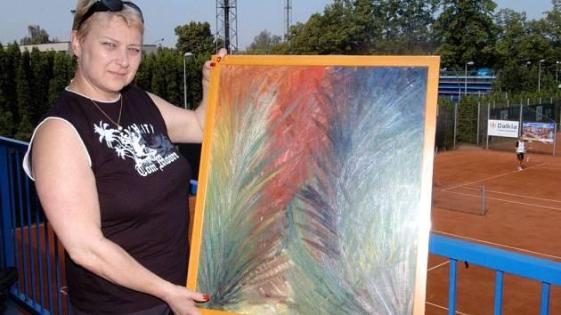 Liana Janáčková se svým obrazem