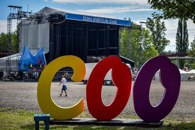 Přípravy areálu na hudební festival Colours of Ostrava 2017 v Dolní Oblasti Vítkovice.