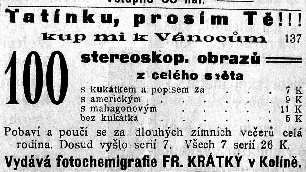 STEREOSKOP. Přístroj, kterým bylo možné na přelomu 19. a 20. století promítat obrázky se jmenoval stereoskop. Skvělý dárek. Nahrazoval dnešní televizory nebo domácí kina.