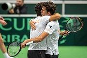 Utkání kvalifikace tenisového Davisova poháru - čtyřhra: Česká Republika - Nizozemsko, 2. února 2019 v Ostravě. Na snímku (vlevo) Julien Rojer a Robin Haase proti Lukáš Rosol a Jiří Veselý.