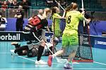 Pohár mistrů ve florbalu, o 3. místo (ženy): 1. SC Vítkovice - SB-Pro Nurmijarvi, 12. ledna 2020 v Ostravě. Na snímku (střed) brankářka SB-PRO Nurmijarvi Tiltu Siltanen.