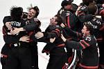 Mistrovství světa hokejistů do 20 let, finále: Rusko - Kanada, 5. ledna 2020 v Ostravě. Na snímku radost Kanady (Barrett Hayton, Ty Dellandrea a Alexis Lafreniere a Aidan Dudas).