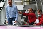 FORTUNA:LIGA - Skupina o titul, 5. kolo - FK Jablonec - FC Baník Ostrava, 8. července 2020 v Jablonci. Trenér Baníku Ostrava Luboš Kozel a asistent trenéra Ivan Kopecký