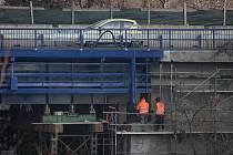 Oprava mostu na Rudné ulici, listopad 2018 v Ostravě.