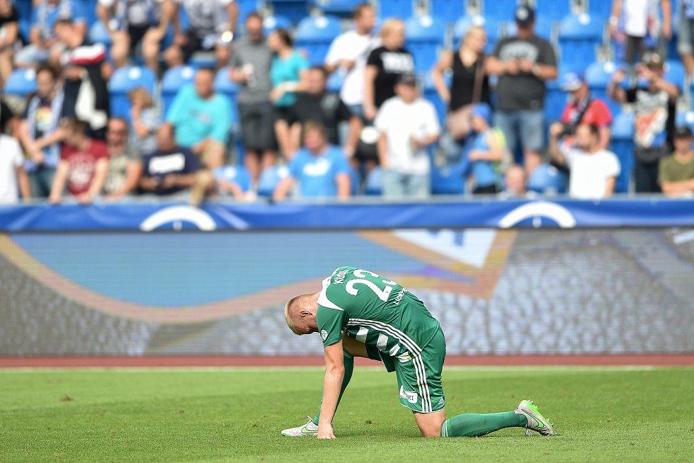 Utkání 5. kola první fotbalové ligy: FC Baník Ostrava - Bohemians 1905 , 10. srpna 2019 v Ostravě. Na snímku smutný hráč Daniel Kostl.