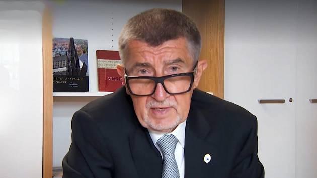Premiér Andrej Babiš - záběr z videa.