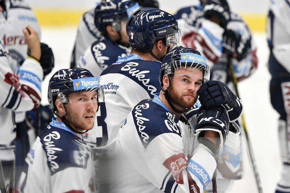 Utkání 1. kola hokejové extraligy: HC Vítkovice Ridera - HC Olomouc, 13. září v Ostravě. Na snímku (vpravo) Petr Šidlík.
