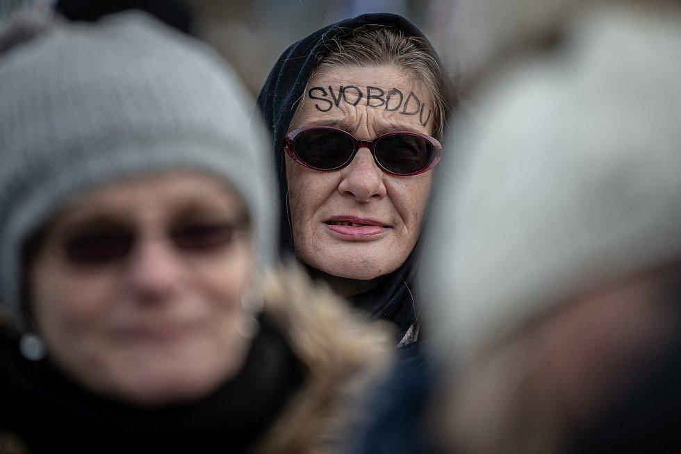 Demonstrace Odemkněme Česko kterou pořádá platforma Manifest, 16. ledna 2021 v Ostravě.