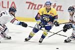 Utkání 32. kola hokejové extraligy: HC Vítkovice Ridera - PSG Berani Zlín, 4. ledna 2019 v Ostravě. Na snímku (zleva) Jan Výtisk, Herman Jakub a Lukáš Kucsera.