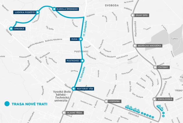 Nová tramvajová trať, vpřípadě, že se postaví, bude mít tuto (modrou) trasu. Šedě je označená stávající tramvajová trasa.