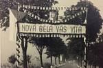 V roce 1946 navštívil Ostravu prezident Edvard Beneš. Kolona projížděla přes Novou Bělou. Na snímku ze 17. 7. je slavobrána mezi Novou Bělou a Hrabovou v Krmelínské ulici.