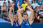 FIVB Světové série v plážovém volejbalu J&T Banka Ostrava Beach Open, 1. června 2019 v Ostravě. Čtvrtfinále ČR - Brazílie. Na snímku (zleva) David Schweiner (CZE), Ondrej Perusic (CZE).