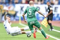 Utkání 5. kola první fotbalové ligy: FC Baník Ostrava - Bohemians 1905 , 10. srpna 2019 v Ostravě. Na snímku (zleva) Jiří Fleišman a David Bartek.