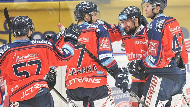 Utkání 52. kola hokejové extraligy: HC Vítkovice Ridera - HC HC Bílí Tygři Liberec, 4. března 2018 v Ostravě. Radost (vpravo) Hrbas Marek.