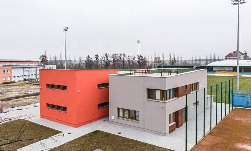 Objekt šaten a zázemí SK FC a Tělovýchovné jednoty v Hlučíně.