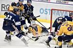 Utkání 41. kola hokejové extraligy: HC Vítkovice Ridera - PSG Berani Zlín, 28. ledna 2020 v Ostravě. Na snímku (střed) brankář Zlína Libor Kašík.