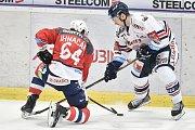 Utkání 40. kola hokejové extraligy: HC Vítkovice Ridera - HC Dynamo Pardubice, 9. ledna 2019 v Ostravě. Na snímku (zleva) Ihnačák Brian a Lukáš Kucsera.