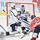Utkání 4. kola hokejové extraligy: HC Vítkovice Ridera - HC Škoda Plzeň, 23. září 2018 v Ostravě. Na snímku (střed) Miltchakov Mitja Dmitri.