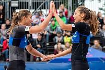 FIVB Světové série v plážovém volejbalu J&T Banka Ostrava Beach Open, 30. května 2019 v Ostravě. Na snímku (zleva) Martina Maixnerova (CZE), Martina Bonnerova (CZE).