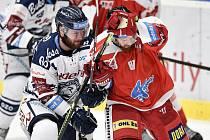 Utkání 27. kola hokejové extraligy: HC Vítkovice Ridera - HC Olomouc, 18. prosince 2019 v Ostravě. Na snímku (zleva) Petr Šidlík a Pavel Musil.