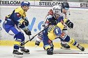 Utkání 32. kola hokejové extraligy: HC Vítkovice Ridera - PSG Berani Zlín, 4. ledna 2019 v Ostravě. Na snímku (zleva) Honejsek Antonín, Rostislav Olesz a Fryšara Štěpán.