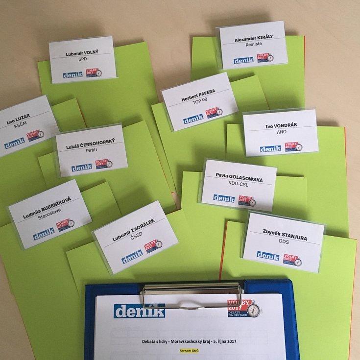 Jmenovky lídrů připravené v rámci předvolebního projektu Deníku.