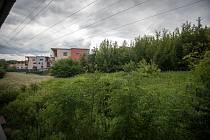 Jen louka odděluje luxusní satelitní čtvrť (v pozadí) od rekonstruované budovy podnikatele Mitruse
