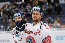 Utkání 35. kola hokejové extraligy: HC Vítkovice Ridera - HC Energie Karlovy Vary, 13. ledna 2019 v Ostravě. Na snímku (zleva) Peter Trška, Radoslav Tybor.