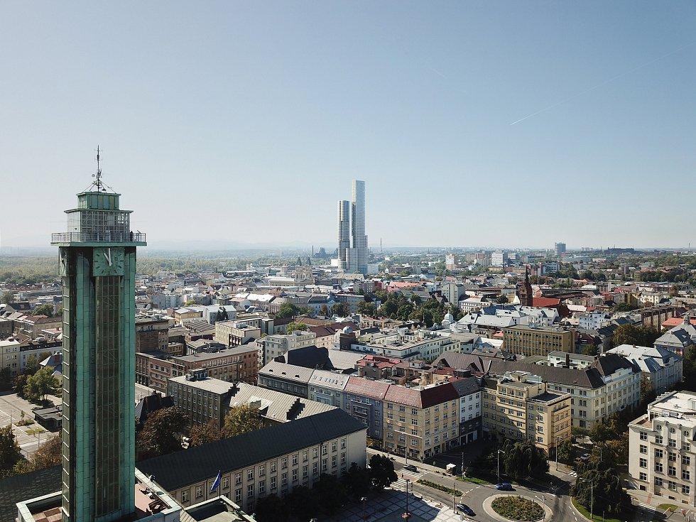 Takto má vypadat plánovaný mrakodrap na Karolině v centru Ostravy. Z původních plánovaných 238 metrů by se měl po výsledcích průzkumu podloží snížit na výšku do 200 metrů.