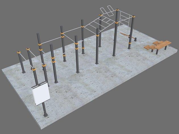 Vizualizace workoutového hřiště v Porubě.
