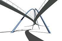 Návrh mostu pro pěší ostravského architekta Augustina Milaty.