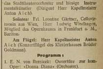 Sken z novin Ostrauer Zeitung: Tagblatt, 12. 3. 1916, pozvánka na koncert.