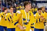 Mistrovství světa hokejistů do 20 let, zápas o 3. místo: Švédsko - Finsko, 5. ledna 2020 v Ostravě. Na snímku (uprostřed) Adam Ginning (SWE).