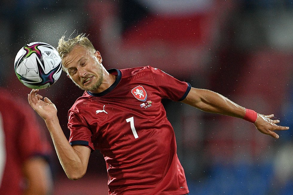 Utkání skupiny E kvalifikace mistrovství světa ve fotbale: Česko - Bělorusko, 2. září 2021 V Ostravě. Antonín Barák z ČR.