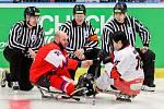 Mistrovství světa v para hokeji 2019, Česká republika - Japonsko, 27. dubna 2019 v Ostravě. Na snímku (zleva) Geier Michal (CZE), Kodama Nao (JPN).