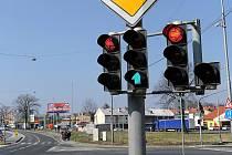 Semafor s LED diodami na křižovatce v Ostravě-Vítkovicích.