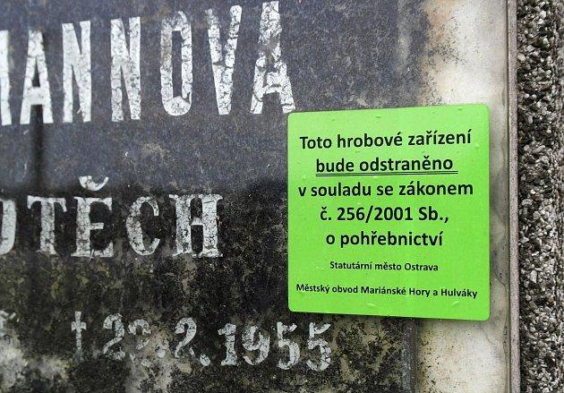 Nálepky upozorňující na opuštěný hrob jsou na pohřebišti v Mariánských Horách doslova všude, kam se jen člověk podívá.