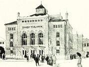 Takto mohlo divadlo vypadat – jedná se o druhý soutěžní návrh Franze von Krausseho a Josefa Tölka.