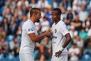 Utkání 1. kola první fotbalové ligy: FC Baník Ostrava - FC Slovan Liberec, 13. července 2019 v Ostravě. Na snímku (zleva) Milan Baroš, Dame Diop.