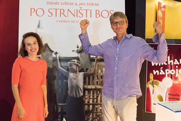 Tereza Voříšková a Jan Svěrák při představení filmu Po strništi bos 8. srpna 2017 v Ostravě.