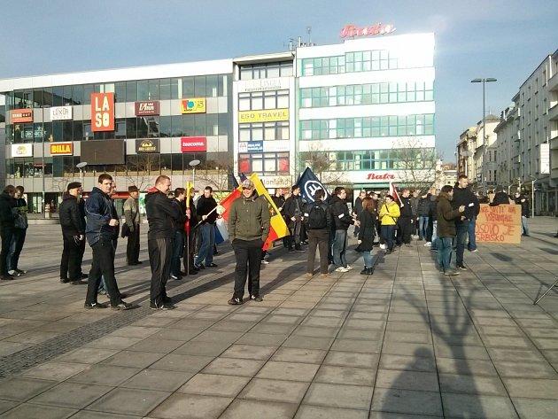 Demonstrace v centru Ostravy.