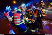 Záchranná akce u dopravní nehody v Ostravě.